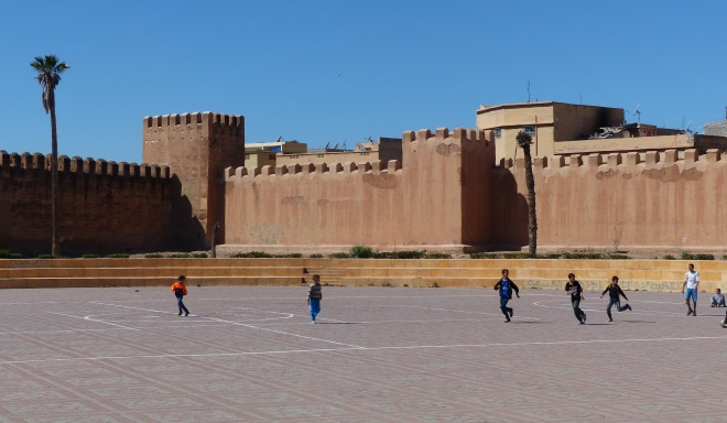 Soccer game outside the walls of the old city